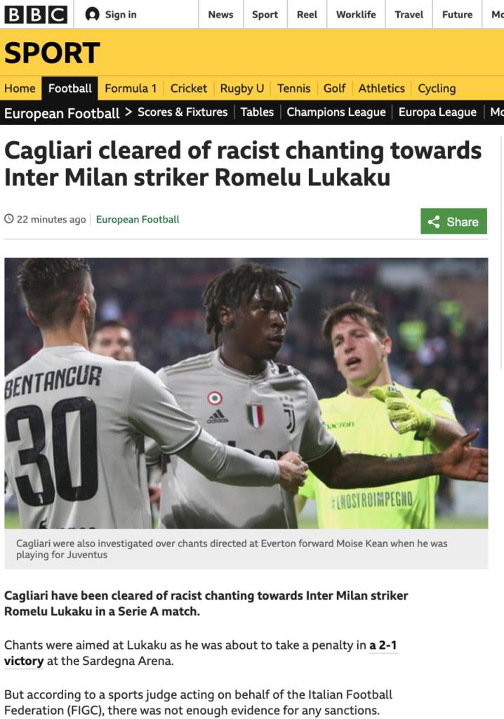 articolo della BBC sul caso Lukaku Cagliari