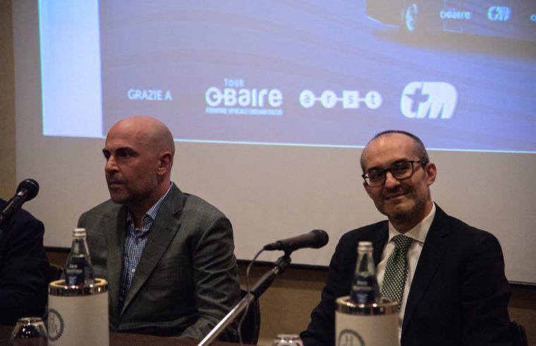 Il patron del Cagliari, Tommaso Giulini, insieme al sindaco di Cagliari Paolo Truzzu