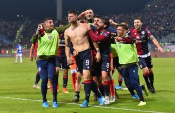 Alberto Cerri festeggia dopo il gol