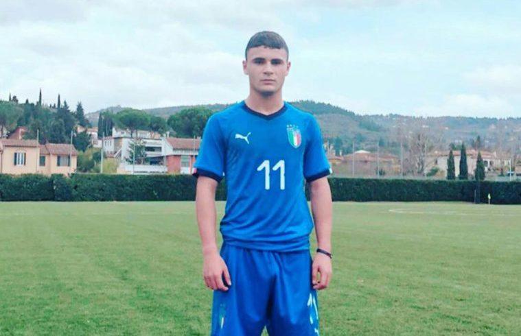 Michele Masala con la maglia azzurra