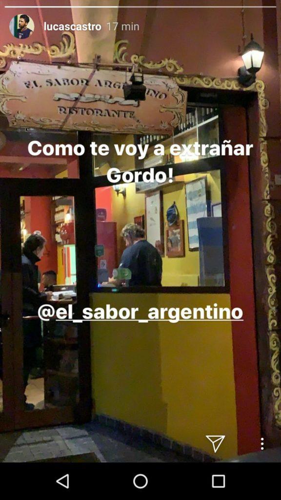 La dedica di Castro all'amico ristoratore ed ex rugbista Ramiro Cassina
