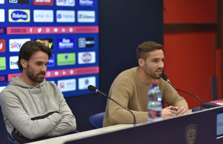 Luca Cigarini e Leonardo Pavoletti in conferenza