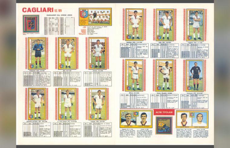 La formazione del Cagliari scudettato nell'album delle figurine Calciatori Panini 1969-70