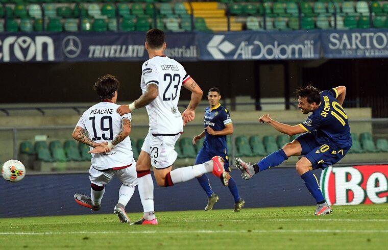 Samuel Di Carmine segna il 2-0 in Verona-Cagliari