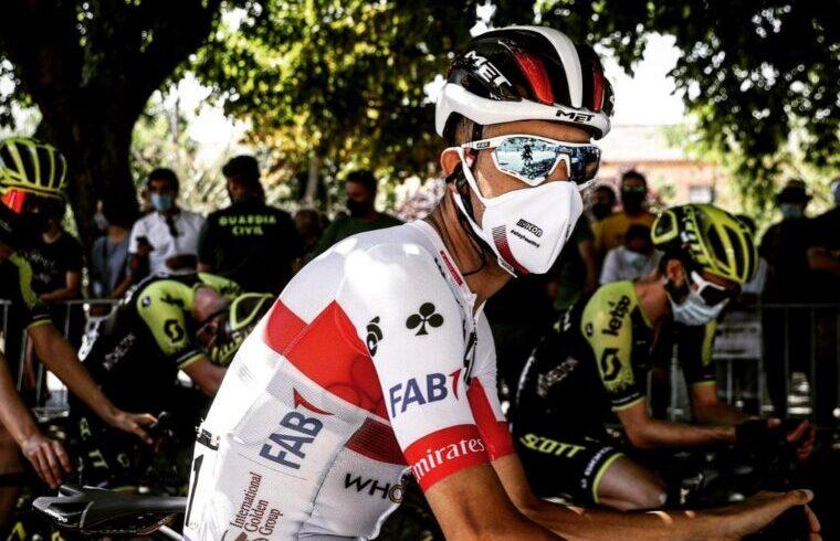 Fabio Aru alla partenza di una tappa della Vuelta a Burgos