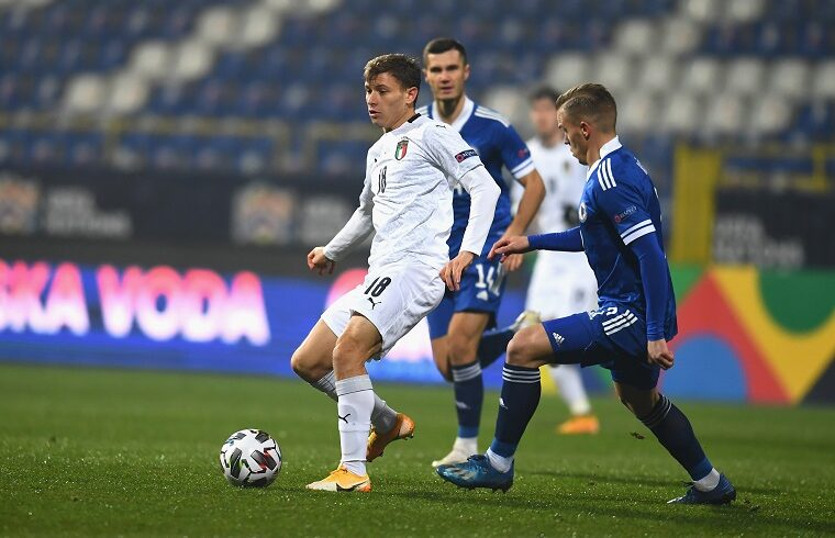 Nicolò Barella contro la Bosnia