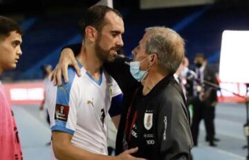 Diego Godin e Oscar Tabarez | Foto Federacion Uruguay