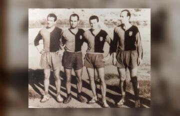 """Una foto del Cagliari 1952: Erminio Bercarich è l'ultimo a destra   Foto tratta da""""Un sogno rossoblù"""""""
