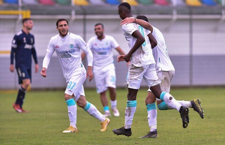 Udoh esulta dopo il gol alla Juventus | Foto Sandro Giordano