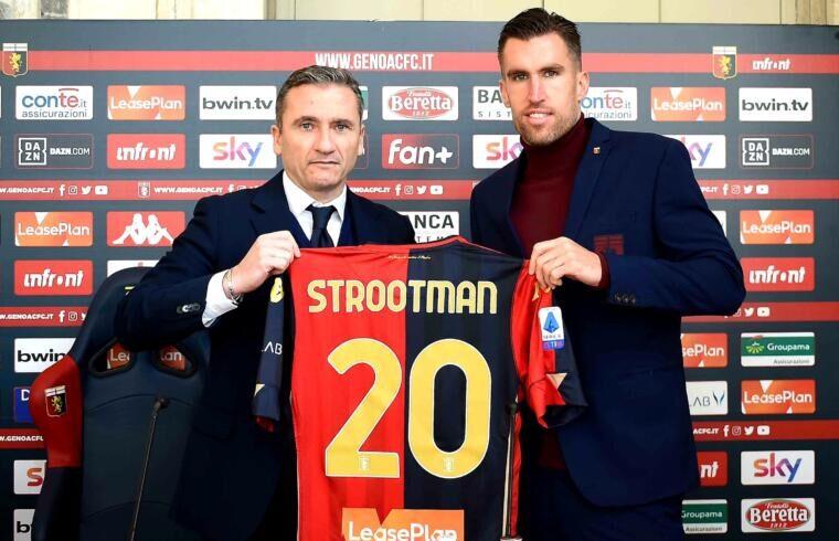 Francesco Marroccu alla presentazione di Strootman | Foto Genoa FC