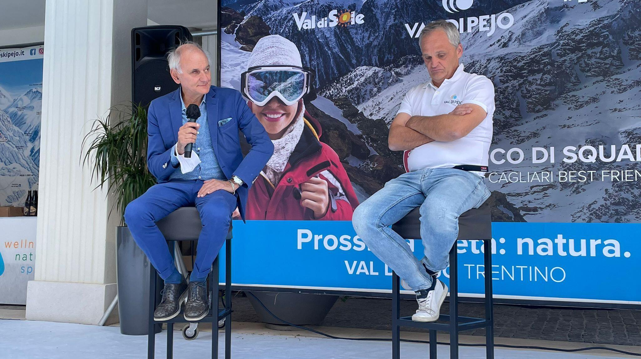 Il diesse del Cagliari Stefano Capozucca e Marco Canella, presidente del Consorzio turistico Pejo 2000 | Foto Centotrentuno